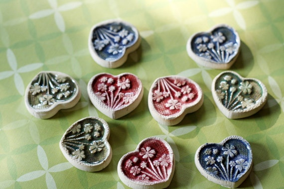 DIY Set of 9 Pretty Hand Made Tile Hearts for Mosaics or Magnets