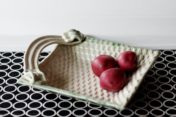 Ceramic Square Plate With Handle // Great for Entertaining