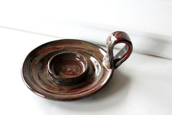 Wheel Thrown Tea Light or Candle Holder // Rustic Brown