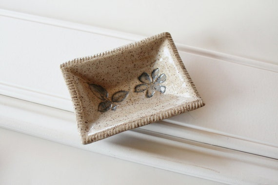 Wee Rectangular Dish - Perfect for Dipping Sauces, Rings, a Teabag or Coins / Pale Neutral