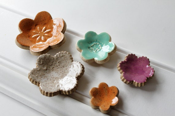 Clay Ring Dishes, Set of 5,  Stackable, Shower Favors or Stocking Stuffers