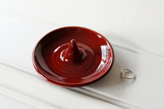Wheel Thrown Clay Ring Dish in Red - Discounted