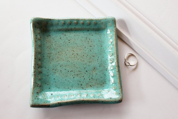 Square clay Dish - Speckled Mint Green