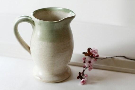 One Speckled Cream and Seafoam Green Ceramic Pitcher