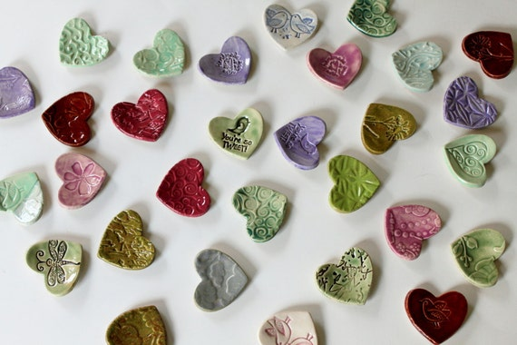 RESERVED  // Colorful set of 36 Clay Hearts // Ready to ship