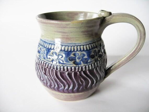 Colorful Hand Built Stoneware Mug