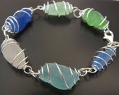 Sea Glass Jewelry, Rare Ocean Blues Genuine Sea Glass Bracelet, Jewellery