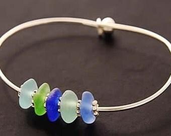 Rare Colors of the Sea - Genuine Sea Glass - Bangle Bracelet
