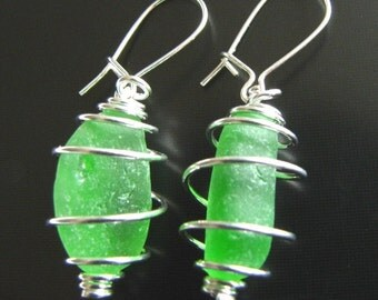Sea Glass Jewelry, Emerald Green Sea Glass Earrings - Wire Wrapped - Sterling Silver, Jewellery