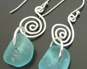 Aqua Ocean Blue Sea Glass Earrings - Sterling Silver - Mermaid Tears