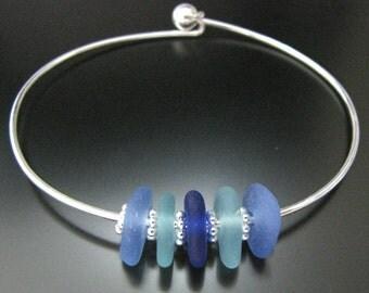 Rare Soft Blues and Colors of the Sea - Genuine Sea Glass - Bangle Bracelet