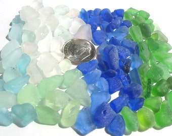 100 Genuine Sea Glass Tinies - For Crafts, Art, Mosaics, some Jewelry, Supplies, Blue Seaglass, Green, White, Cobalt, Beachglass lot