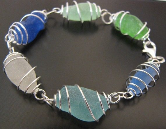 Sea Glass Jewelry, Rare Ocean Blues Genuine Sea Glass Bracelet, Jewellery