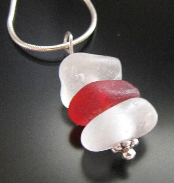 Sea Glass Jewelry, Genuine Beach Combed Rare Red Sea Glass Jewelry Necklace - Sterling Silver, Jewellery