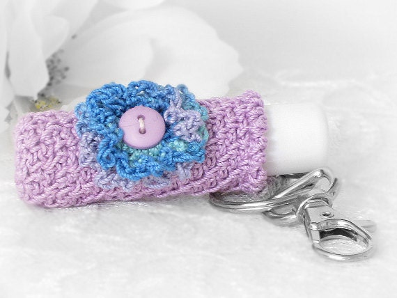 Lip Balm Holder, Keychain Key Holder in Luscious Violet with Crochet Violet & Blue Flower
