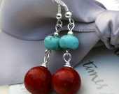 Sponge Coral and Magnesite earrings with Sterling earwires
