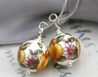 Japanese Tensha Bead Earrings with handcrafted Sterling earwires