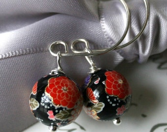 Japanese Tensha beads Black or White background - with handcrafted Sterling earwires