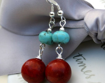 Sponge Coral and Magnesite earrings