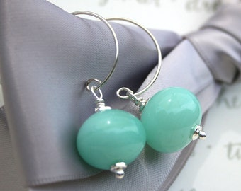 Lampwork glass bead earrings Opaque Aqua