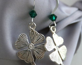Lucky Four Leaf Clover Shamrock Sterling earrings