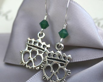 Celtic Heart and Crown Sterling earrings