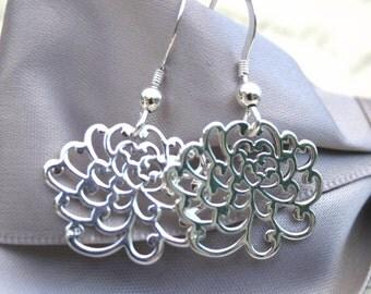Sterling Chrysanthemum flower earrings