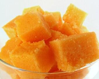 Pumpkin Spice Solid Sugar Scrub Cubes, Exfoliates, 8 Ounce Jar, Fall Scented Spa Scrub, Single Use Cubes