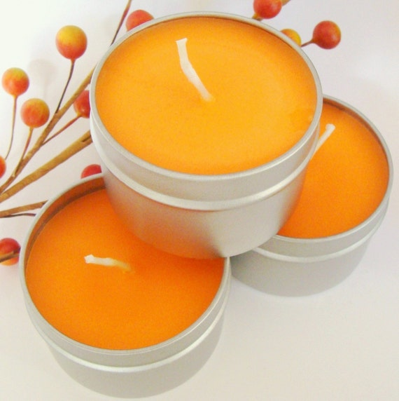 Pumpkin Spice Candle Soy Wax Travel Size Tin Container 4