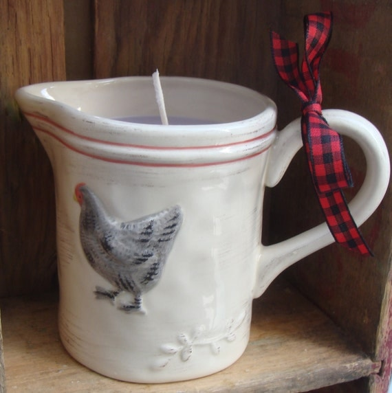 Custom order for Grace - Rooster Candle Sugar Plum Scented Soy Wax a great holiday scent - sweet pitcher