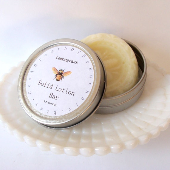 Lemongrass Lotion Bar, Solid  Body Lotion, Organice Shea Butter Lotion, Hand Balm, Scented Lotion, Salve, Hand Cream, Foot Balm, Travel Tin
