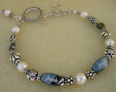 Personalized Mothers Bracelet with 2 Engraved Name Beads