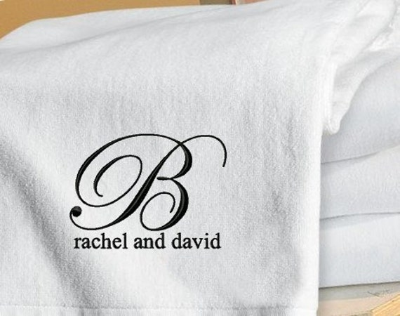 Monogram Wedding Gifts Ideas: Set Of 2 Monogrammed Beach Towels Honeymoon / Wedding Gift