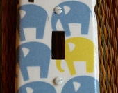 Brown Blue Elephants Parade boys Switchplate outlet cover made with Dwell Studio Fabric