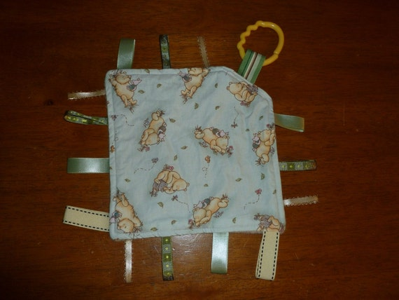 Classic Pooh Sage Green On-the-go Ribbon Lovey Taggie baby Blanket