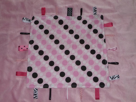 Pink Black White polkadots Ribbon Lovey Taggie Blanket  for baby girl