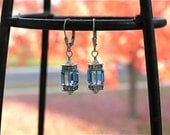 Swarovski Crystal cube earrings - Aquamarine