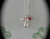 Back in stock Tiny Treasure Necklace with  Ruby , pearl and peanut charms