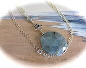 Labradolite pendant on Sterling silver Chain necklace