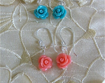 Rose carved earrings in Sterling silver (coral or  turquoise)