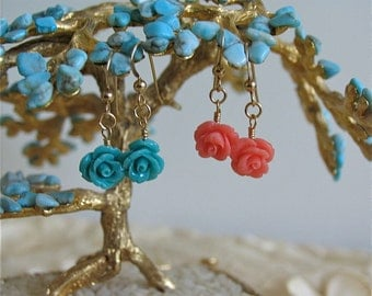 Rose carved earrings in 14K gold filled (coral and turquoise)