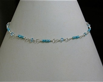 Anklet - Swarovski crystal and blue seed pearl in Sterling Silver