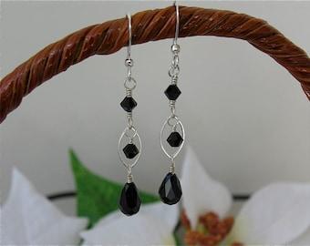 Swarovski Crystal drop dangling earrings - Jet