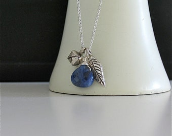 Tiny Treasure Necklace with Sodalite, Weaving cube and leaf charms