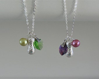 Back in stock Tiny Treasure Necklace with Swarovski heart pendant, pearl and peanut charms - Purple or green