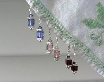 Swarovski Crystal cube earrings in Sterling silver