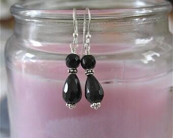 Black Jade Tiara Earrings in Sterling silver