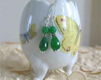 Emerald Jade Tiara Earrings in Sterling silver