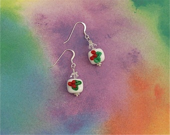 Christmas clearance - Sparkling Christmas Earrings - Holly Berry
