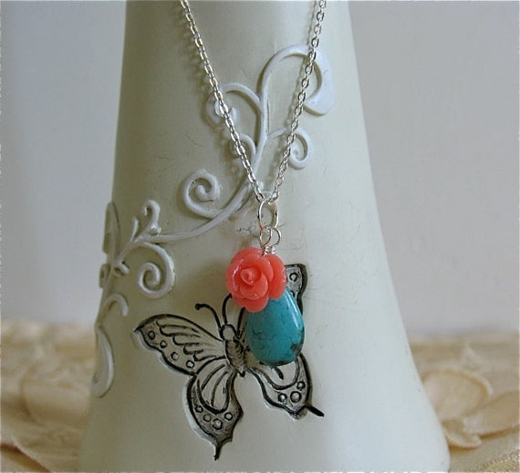 Turquoise pendant and Coral rose carved pendant on sterling silver Chain necklace